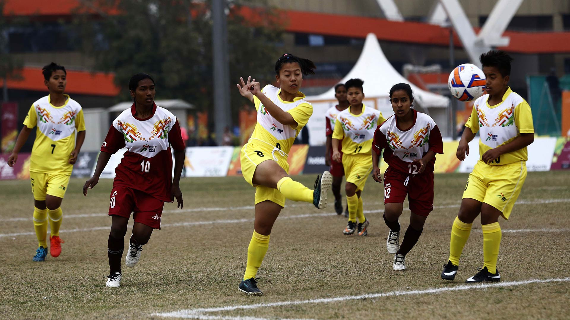 e41bc88df4 Manipur and West Bengal girls Football team in action during 1st Khelo India  School Games.